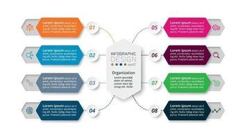 Il processo di lavoro in 8 fasi attraverso un design esagonale descrive una funzione o presenta informazioni su un'azienda o un'organizzazione. vettore infografica.