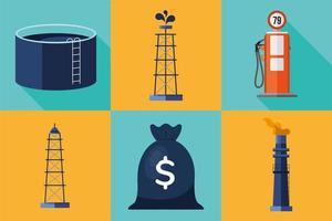 pacchetto di set di icone di prezzo del petrolio