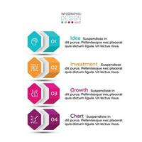 4 flussi di lavoro attraverso layout esagonale, utilizzati per pianificazione aziendale, azienda o pubblicità. illustrazione vettoriale.