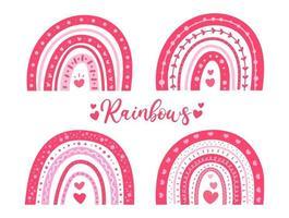 simpatico arcobaleno dipinto a mano decorato con idee per la decorazione di carte di San Valentino a forma di cuore rosa vettore