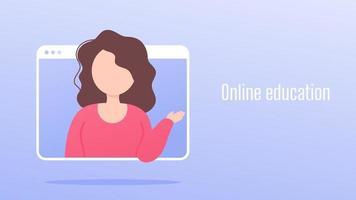formazione in linea. istruire gli insegnanti con videoconferenze su un'applicazione sullo schermo del computer vettore
