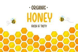 fondo giallo dorato esagonale del taglio della carta del modello del favo con l'ape e il miele dolce all'interno. vettore