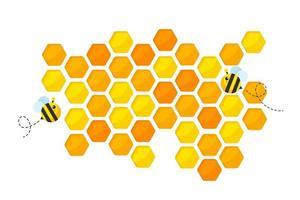 sfondo di carta tagliata a nido d'ape giallo dorato esagonale con ape e miele dolce all'interno. vettore