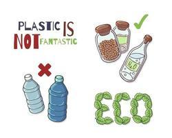 oggetti riutilizzabili al posto della plastica vettore
