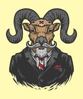 illustrazione di capra ufficio uomo vettore