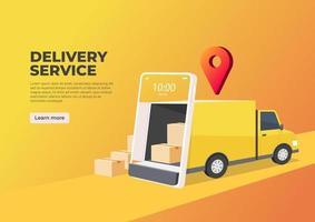 il camion delle consegne apre la porta dallo schermo del cellulare. banner del servizio di consegna online. logistica intelligente, spedizione merci e trasporto merci. vettore