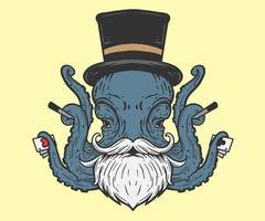 illustrazione del mago del polpo vettore