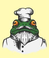 illustrazione dello chef rana vettore
