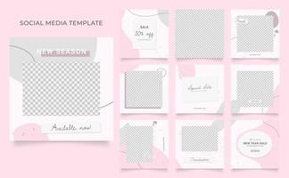 promozione di vendita di moda di blog di banner modello di social media. poster di vendita organica di puzzle con cornice quadrata completamente modificabile. sfondo rosa bianco vettoriale