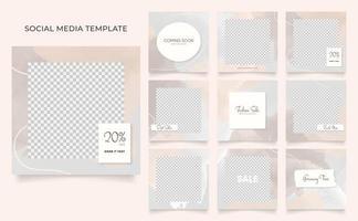 promozione di vendita di moda di blog di banner modello di social media. poster di vendita organica di puzzle con cornice quadrata di instagram e facebook completamente modificabile. sfondo vettoriale rosa rosso bianco