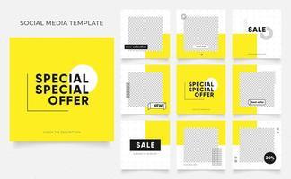 promozione di vendita di moda di blog di banner modello di social media. poster di vendita organica di puzzle con cornice quadrata completamente modificabile. sfondo di vettore di forma elemento giallo fresco