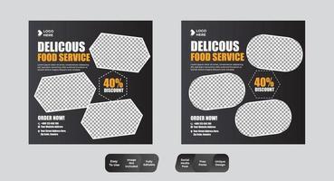 modello di banner post social media alimentare vettore