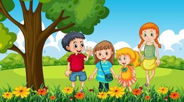 scena del parco con molti bambini in giardino vettore