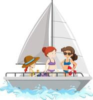 persone in piedi su una barca a vela isolata su sfondo bianco vettore