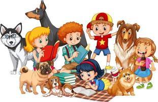 gruppo di bambini con i loro cani su sfondo bianco vettore