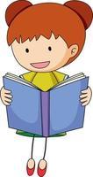 un bambino scarabocchio che legge un personaggio dei cartoni animati del libro isolato vettore