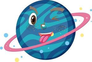 personaggio dei cartoni animati di Saturno con espressione faccia buffa su sfondo bianco vettore