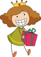un ragazzino di doodle che tiene un personaggio dei cartoni animati di scatola regalo isolato