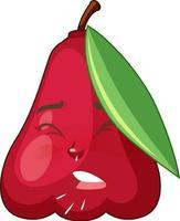 personaggio dei cartoni animati di mela rosa con espressione facciale vettore
