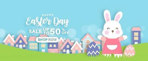 sfondo di giorno di Pasqua e banner con conigli carini e uova di Pasqua. vettore