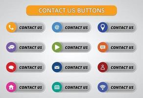 contattaci pulsanti e design delle icone. vettore