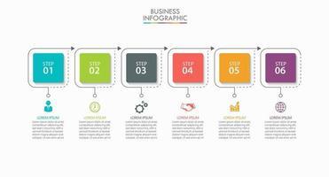 modello di infografica aziendale linea sottile di forma quadrata con 6 opzioni vettore