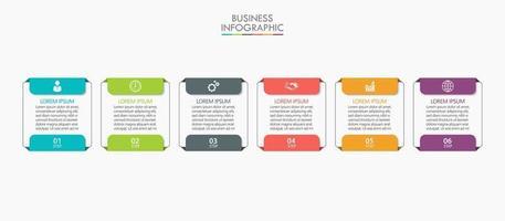 modello di progettazione linea sottile infografica con 6 opzioni vettore