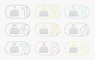 numero di icone di infographics con 9 opzioni vettore