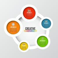 modello astratto di cinque opzioni di infographics. illustrazione vettoriale. può essere utilizzato per il layout del flusso di lavoro, diagramma