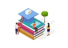 illustrazione di un concetto di giornata mondiale del libro. i giovani moderni leggono libri. uomini seduti su una grande pila di libri. illustrazione vettoriale isometirc.