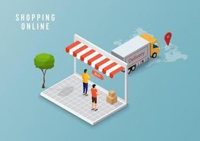 concetto di servizio di consegna online, monitoraggio degli ordini online, consegna logistica a casa e ufficio sul computer. illustrazione vettoriale