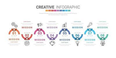 modello di progettazione infografica con numeri 8 opzione per la presentazione