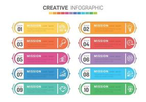 modello di progettazione infografica con 10 opzioni numerate.