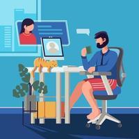 riunione virtuale da casa vettore