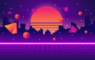 sfondo di città al neon futurismo retrò vettore