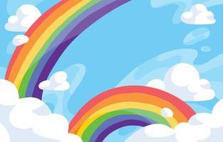 nuvola arcobaleno con sfondo blu vettore