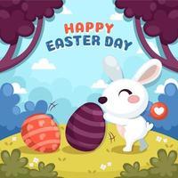 coniglio di Pasqua srotolare l'uovo di pittura vettore