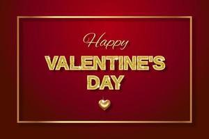 felice poster di san valentino con lettere d'oro con glitter scintillanti e un cuore d'oro vettore