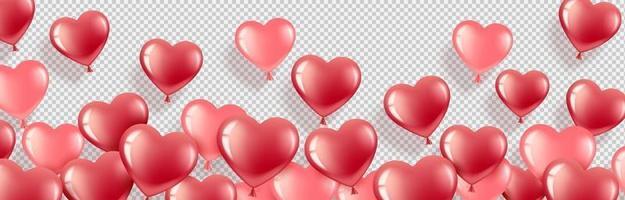 banner cuore palloncini rosa e rossi vettore