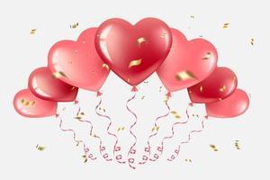 palloncini cuore con coriandoli dorati vettore