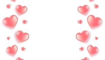 poster con bordo di cuori rosa su sfondo bianco. cartolina per San Valentino e la Giornata Internazionale della Donna. in uno stile realistico 3d. vettore