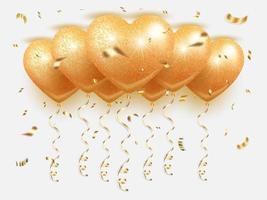 mazzo di palloncini dorati sul soffitto vettore