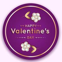 banner rotondo di San Valentino con fiori di diamanti e oro vettore