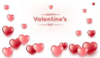 banner di San Valentino con forme di cuore realistiche vettore