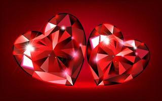 cuori rosso rubino vettore