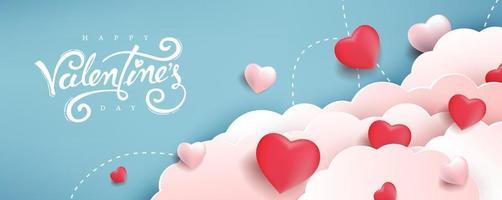 sfondo di San Valentino con cuori tra le nuvole. vettore