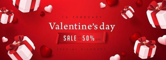 poster di vendita di San Valentino o banner backgroud rosso con scatole regalo e cuori vettore