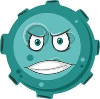 personaggio dei cartoni animati asteroide con espressione faccia arrabbiata su sfondo bianco vettore