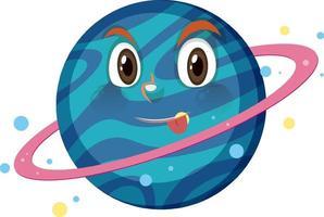 personaggio dei cartoni animati di Saturno con espressione del viso impertinente su sfondo bianco vettore