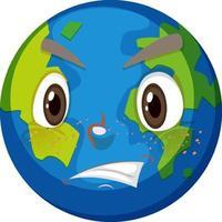 personaggio dei cartoni animati di terra con espressione faccia arrabbiata su sfondo bianco vettore